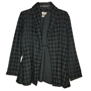 Coldwater Creek Gray & Black Open Front Cardigan